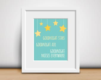 8x10 Digital Print-Goodnight Moon - Children's Book Quote - Typographic Print - Baby's Room Wall Decor - New Baby Gift - Download