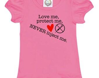 Anti Vax, No vaccination tshirt ruffle Girls