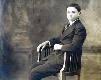 Young Man in a Suit, Seated   Formal Studio Portrait   Antique Belle Epoque Italian Postcard   Unused   1910's
