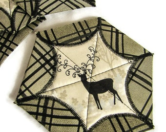 Quilted Winter Coasters - Set of Four; Deer Star Coasters; Holiday Gift Set; Fabric Coasters; Fabric Christmas Coasters