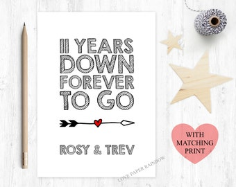 11th wedding anniversary card, 11th anniversary card, 11 years down forever to go, personalised anniversary card, custom anniversary card