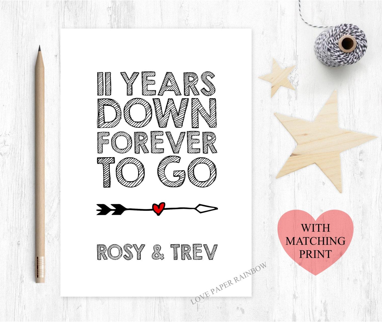 11th Wedding Anniversary Card 11th Anniversary Card 11 Years