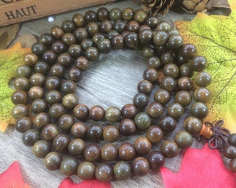 108pcs Natural 6mm Green Wood Beads Meditation Prayer Beads Japa Mala Buddha Necklace