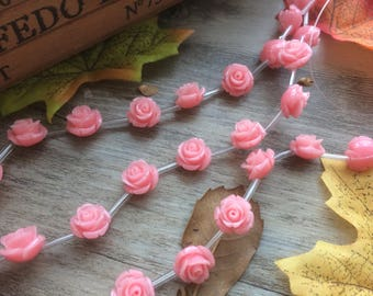 1 Strand Pink Plastic Rose Flower Spacer Charms Loose Beads DIY Supplier For Handcarfts Bracelets 16 inches