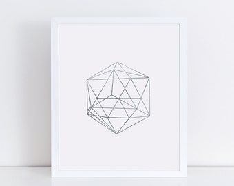 Minimalist Geometric Art, Silver Decor, Abstract Linear Print, Wall Decor, Modern Minimalist Poster, Wall Art
