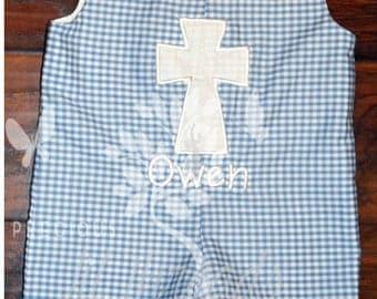 Boys Easter Shortall- Toddler Boys Easter Shortall- Baby Boys Easter Shortall- Cross Shortall- Baptism- Dedication- size 3m 6m 12m 24m 3t 4t