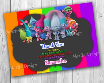 Trolls Thank You Card, Trolls Birthday Party - Party Printable, Thank You Card, Chalkboard - ONLY FILE