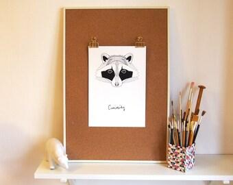 Raccoon of Curiosity // Geometric Print // Black and White Home Decor // Digital Print // Wall Art