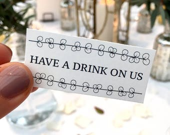 Have A Drink On Us Tokens // Printable Drinks Tokens for Weddings and Parties // Leaf Pattern Wedding Stationery // Table Accessories