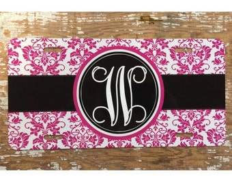 damask Monogram license plate personalized license plate Damask monogram car tag personalized car tag