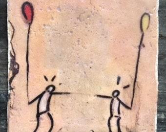 Italian Graffiti Balloon Coaster or Decor Accent