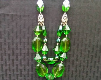 Chunky Multilayered Emerald Green Necklace