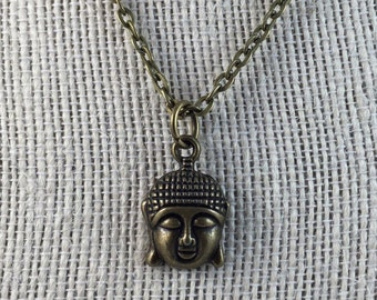 Buddha Necklace - Buddha Head Pendant - Buddha Head Necklace Chain  - Buddhist Pendant
