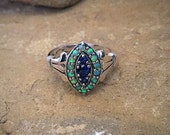Sapphire and green opal marquis antique sterling silver vintage ring size 6