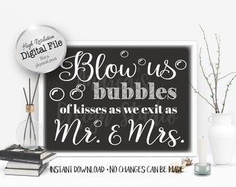 Wedding Bubbles Sign, Wedding Printables, Bubbles Send Off Printable Sign, Instant Download, Digital File