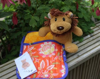 Lion Teddy-bear in a sleeping bag with his own passport.