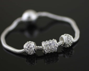 Sterling Silver Pandora Style Bracelet, Silver Snake Chain Heart Clasp Bracelet, Bracelet for pandora charms, Silver Magnetic Bracelet