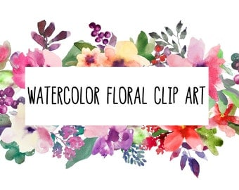 watercolor flowers clipart, bunch, for personal and small commercial use