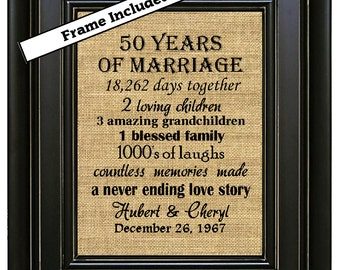 FRAMED Personalized 50 Anniversary Gift/50th Anniversary Gifts/50th Wedding Anniversary/50 years of Marriage/Parents Golden Anniversary Gift