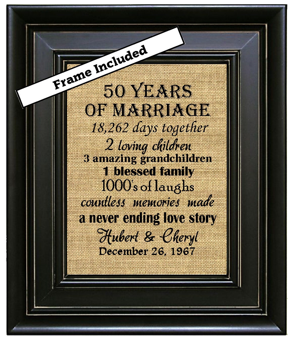 Framed Personalized 50 Anniversary Gift 50th Anniversary