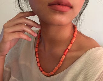 """Large coral bead antique necklace 20"""""""
