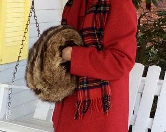 Vintage/real raccoon fur/ muff/hand warmer.