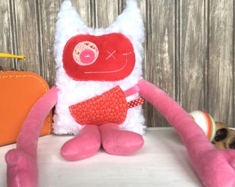 Hug Monster with horns/ears, handmade plush, pink and red with white hearts pocket, baby girl shower present or birthday gift, ready to go.