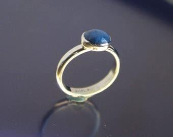 Denim Lapis Ring Sterling Silver Bezel Set Stone Handmade