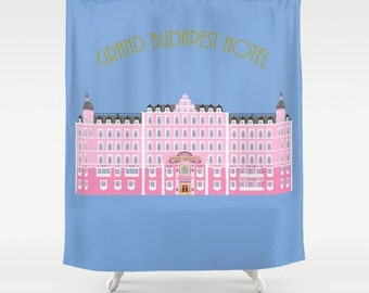 Grand Budapest Hotel shower curtain-Wes Anderson shower curtain-Cinema lover shower curtain-Blue bathroom curtain-Cool Modern bathroom decor