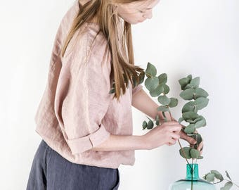 Linen shirt ELLIE, Linen kimono shirt, Natural 100% linen shirt, Linen top for womens, Loose tunic, Long sleeve blouse, linen top
