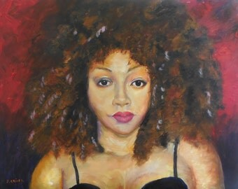 Crown and Glory, original oil painting by Barbara Criner, African American Art, 16x20