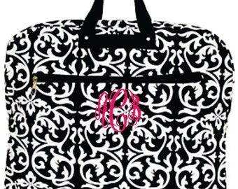 Monogram Black and White Damask Print Garment Bag