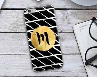 Initial Iphone Case - Custom Iphone Case - Monogram Iphone Case - Personalized Iphone Case - Black And White Iphone Case - Gold Iphone Case
