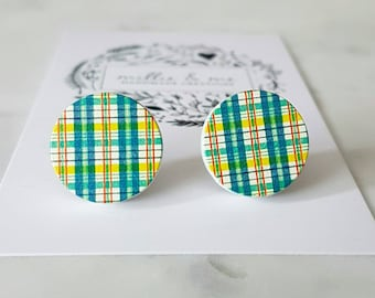Green and yellow wooden disc earrings
