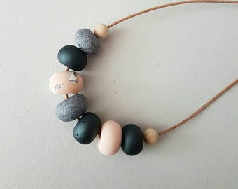 Polymer clay bead necklace/Pink and granite clay beaded necklace/ polymer clay jewellery/ clay necklace/ beaded necklace /  birthday gift/