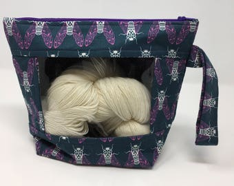 Knitting and Crochet Project Bag - Peekaboo - mavy pink moth