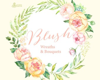 Blush. 12 Watercolor Wreaths & Bouquets, peach, cream, pink, flowers clipart, peony, wedding invitation, greeting, diy, floral, spring, kit