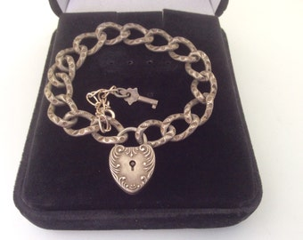 Antique Repousse dapped link ornate heart padlock victorian sterling silver charm bracelet & Key