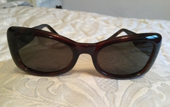 Versace, ladies dark brown sunglasses in original leather case