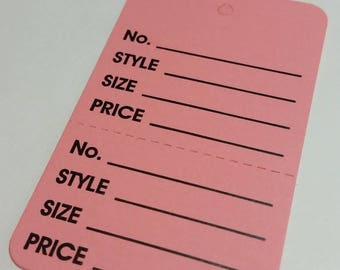 Merchandise Tags- Pink Price Tags (Unstrung) for use in Boutiques, Shops, on Papercrafts-Junk journals, Planners, Smashbooks, Ephemera,