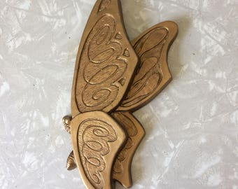 Universal Statuary Gold Butterfly Wall Hanging - 1970s - 70s