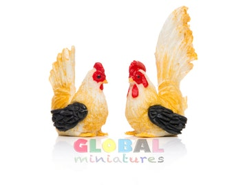 Dollhouse Miniatures Pair of Yellow and Black Chicken