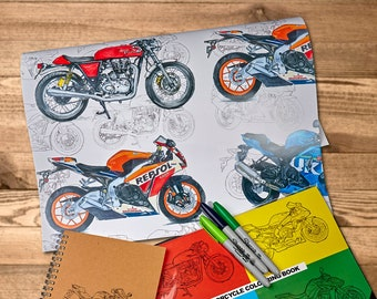 "Clean Sportsbike Wrap - Motorcycle Wrapping Paper - A2 - 16.5 x 23.4in"" / 42cm x 59cm 