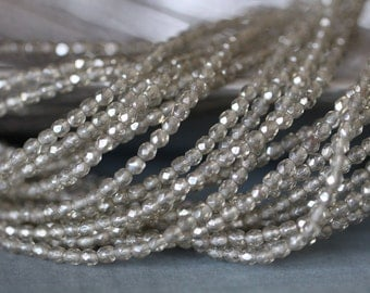 SUMMER SALE 4mm, Faceted, Round, BLACK Diamond, Luster, Fire Polish, Czech, Glass Beads, 50 pieces