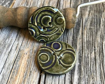 Blue Green Ceramic Buttons   Set of 2 handmade round stoneware buttons    Rustic Round Pottery Buttons   Ceramic Accent   Bracelet fasteners