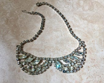 WEISS rhinestone bib necklace festoon Vintage Mid Century Modern  excellent quality pageant bridal prom