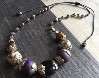 Stone beads necklace, stone Tibetan necklace, Big stone necklace, Big stone beads necklace, Elegant stone beads necklace