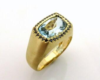 Aquamarine gold ring, Black diamond ring, Signet ring gold, Gold statement ring, Gold birthstone ring, Aquamarine engagement ring