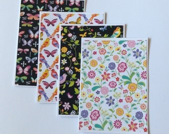 Butterfly card set, flower greeting cards, any occasion, floral cards, birthday cards, pretty stationery, gift cards, note