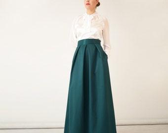 Green maxi skirt | Etsy